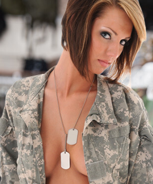 Girl with dog tags