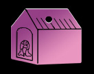 Dog House, Pet Tag Aluminum, blue, green, purple or red.
