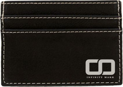 "4"" x 2 3/4"" Black/Silver Laserable Leatherette Wallet Clip"