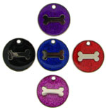 Glitter Bone Pet Tags 25 mm