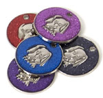 Glitter Dog Face Pet Tags 32 mm